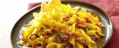 Garganelli con zucca e salsiccia (Garganelli pasta with pumpkin and sausages)
