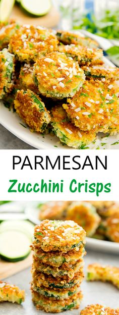 Parmesan Zucchini Crisps. A delicious crunchy appetizer, side dish or snack! Zucchini slices are coated in panko breadcrumbs and parmesan cheese and cooked until crispy.