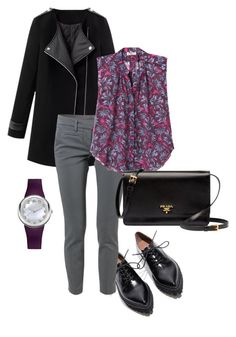 """""""203"""" by anna-aleks ❤ liked on Polyvore featuring Jeffrey Campbell, Dondup, Rebecca Taylor, Prada and Philip Stein"""