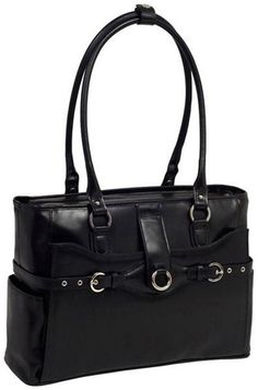 ef078b89578c W Series Willow Springs Leather Ladies Briefcase - Black