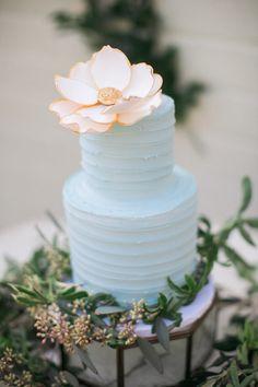 light blue wedding cake - photo by Erin J Saldana Photography…