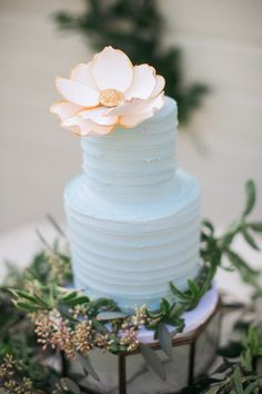 light blue wedding cake - photo by Erin J Saldana Photography http://ruffledblog.com/romantic-organic-wedding-at-elysian-la
