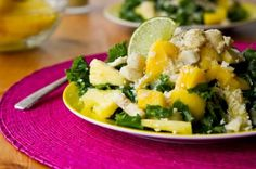 Tropical Mango, Banana, Pineapple Kale Salad with Creamy Pineapple Lime Coconut Dressing (sounds delish...like a beach vacation!)