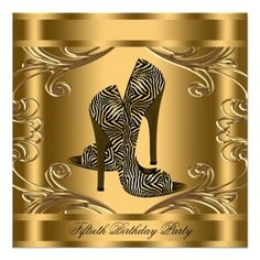Elegant Black and Gold 50th Birthday Party Personalized Invitations