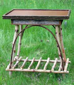 rustic furniture adirondack twig home garden camp Willow Furniture, Fairy Furniture, Furniture Projects, Rustic Furniture, Painted Furniture, Bushcraft, Adirondack Furniture, Adirondack Decor, Rustic End Tables