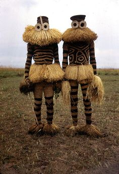 Pende Minganji masked dancers, Guardians of initiation camp, D.R.Congo, near Gungu
