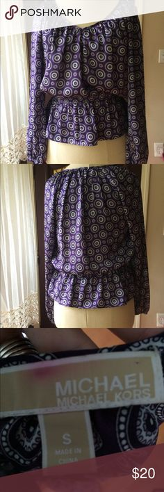 Purple Long Sleeved MK Blouse Absolutely no stains, rips or damage to the blouse. Has a v-neck in the front of the blouse and is a size small! Michael Kors Tops Blouses
