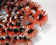 Handmade paper sculpture from recycled cardboard tubes