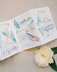 The water-colored activity itineraries were included in both the cigar boxes and in the welcome baskets guests received upon their arrival to Telluride. In the days leading up to the wedding, guests participated in activities such as getting pampered at the spa, four-wheeling, fishing, and hiking.