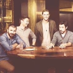 Chris Evans, Jeremy Renner, Chris Hemsworth and Robert Downey Jr. Aka too much attractive in one picture.