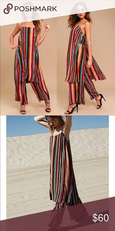 Free People Ruby Set sz L Gently used  Silky and striped set featuring a long tank and wide leg pants.  Top: Long silhouette Exaggerated side vents Built-in cropped lining  Pants: Wide legs Drawstring waistband Smocked elastic band at back waist  Care/Import  Machine Wash Cold Free People Other