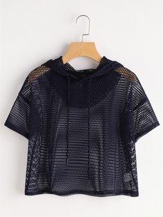 Camiseta corta de capucha con hombros caídos en rejilla-Spanish Romwe Sitio Móvil