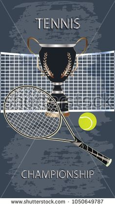 Prize winning cup black with golden laurel leaves - racket, grid, ball - abstract in grunge style theme background - art vector. Tennis Championship. Sports Poster