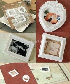 3pcs White Resin Picture Frames Scrapbooking Heart & Rectangle Frames DIY