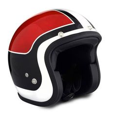SEVENTIES Vintage Superflat helmet - Vintage Replica Red - open face with ECE.