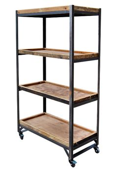 Retail Fixtures- Shelf Trolley Unit with Wooden Trays on Castors  Available at http://www.wbc.co.uk/4-shelf-retail-display-stand?sc=64=93432  Prod Ref: RD/KMED