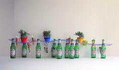 Repurposed beer bottles