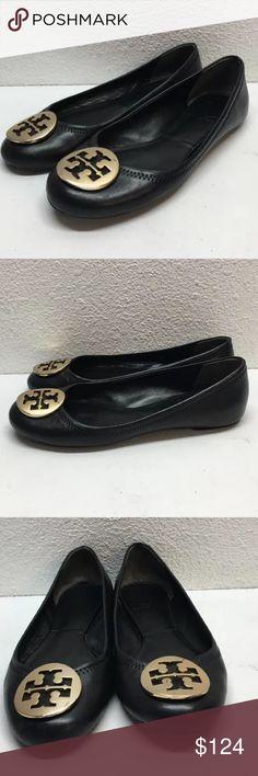 Tory Burch black w/ gold Reva flats 6.5 Nice preloved. No box no bag. Retail $225 FIRM PRICE Tory Burch Shoes Flats & Loafers