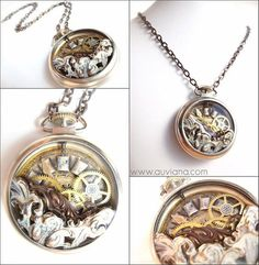 Vintage steampunk pocket Watch Pendant Necklace by Auviana on Etsy, $40.00