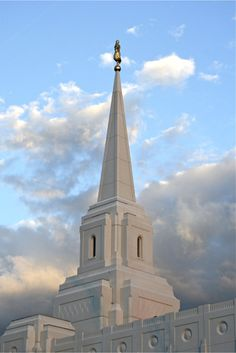 Brigham City LDS Temple, taken the day the Angel was placed on it.  by Elaine