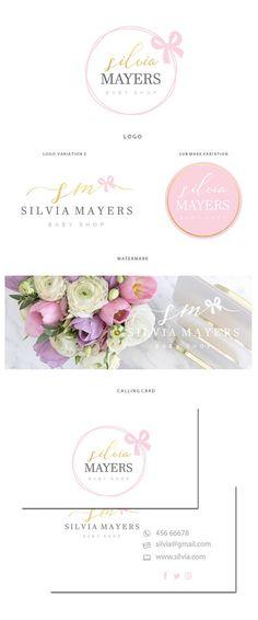 Branding kit logo design  Pink bow logo  Event planner logo