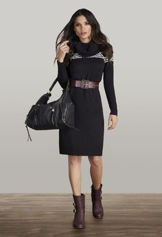 Mixing it up for fall...burgundy ankle boots with a black dress.