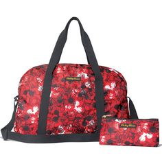 """Perfect for Mickey fans, this oversized 12"""" H x 18"""" W x 8"""" D duffle bag has an adjustable shoulder strap, zipper closure and comes with a 3 1/4"""" H x 6"""" W x 1"""" D cosmetics bag in a matching print. Polyester.In the event of unforeseen demand, please allow 2-4 extra weeks for delivery.©Disney"""