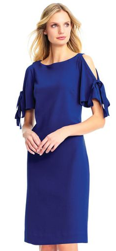 Adrianna Papell | Cold Shoulder Crepe Shift Dress with Tie Accented Short Sleeves