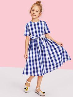 Girls Zip Back Plaid Print Belted Dress -SheIn(Sheinside)