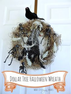 I made this Halloween wreath with Dollar Tree purchases  Save up to 58% with the Dollar Tree Anniversary Event #DTAnniversary #ad