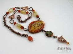 Orange Evil Eye talisman necklace with artisan polymer clay focal and lampwork bead on citrine nugget beaded chain by PaisleyLizardDesigns Evil Eye Necklace, Boho Necklace, Gypsy Jewelry, Jewelry Art, Button Crafts, Handmade Beads, Czech Glass Beads, Lampwork Beads, Artisan Jewelry