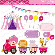 Baby Girl Circus clipart girls circus party por CeliaLauDesigns