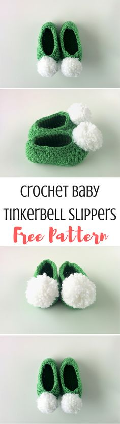 Cute and simple Tinkerbell booties for your little girl! This free crochet pattern is really easy and work up in just a few minutes. Don't forget the poms!