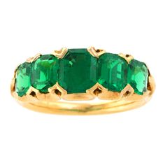 Antique English Five-Stone Emerald Ring | From a unique collection of vintage more rings at http://www.1stdibs.com/jewelry/rings/more-rings/