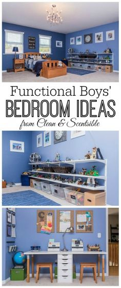 Great design and organization ideas for boys bedrooms!