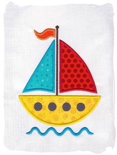 Sailboat Machine Embroidery Applique. $2.80, via Etsy.