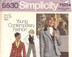 Simplicity Misses' Pattern 6530 Size 12 for Pants, Vest and Jacket by attictreasuresbyjudy. Explore more products on http://attictreasuresbyjudy.etsy.com