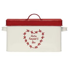 Anglaise Heart Housekeepers Box Housekeeping, Container, Bread Boxes, Cream, Words, Storage, Heart, Creme Caramel, Purse Storage