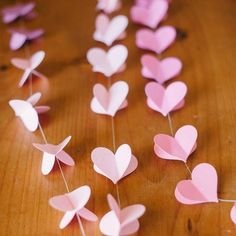 Paper heart garland makes for a whimsical decoration.