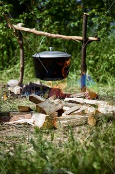 stock photo of tourist campfire on which cooking and firewood is prepared in the cauldron