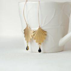 Art Deco Fan Earrings - Black And Gold. $24.99, via Etsy.