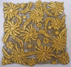 Millefleurs- Kate Wells Water Soluble Fabric, A Level Textiles, Gold Embroidery, Embroidery Ideas, Lace Art, Gold Work, Free Machine Embroidery, Cutwork, Textile Art