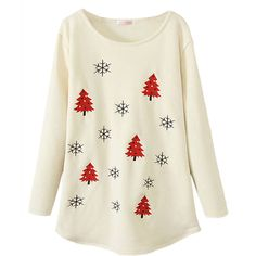 Beige Womens Christmas Trees Printed Lined Jumper Sweatshirt ($25) ❤ liked on Polyvore featuring tops, hoodies, sweatshirts, red, white top, christmas tops, lined sweatshirt, white sweat shirt and red sweat shirt