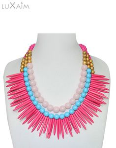 Festive Special Hot Pink Spikes Statement Necklace By Returnfavors Visit http://www.returnfavors.com/necklacej/