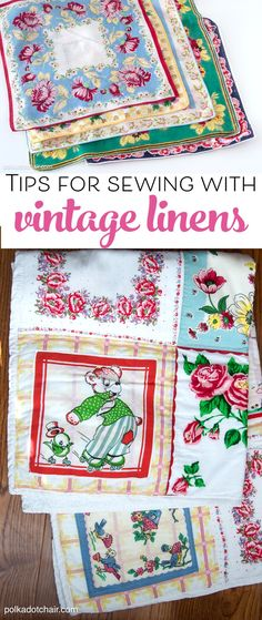 More than 25 cute things to make with Vintage Linens including vintage sheets and handkerchiefs. Ideas for Sewing with Vintage Sheets. Sewing Hacks, Sewing Tutorials, Sewing Crafts, Sewing Tips, Sewing Ideas, Diy Crafts, Embroidery Designs, Vintage Embroidery, Crewel Embroidery