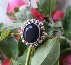 Pure 925 Sterling Silver Ring With Natural Black Onyx Gemstone. Natural Black Onyx Gemstone Ring in Sterling Silver. 925 Silver, Sterling Silver Rings, Black Onyx Ring, Dainty Ring, Antique Rings, Statement Rings, Lapis Lazuli, Gemstone Rings, Pure Products