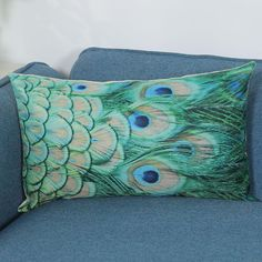 Long Feather Print Pillow Case Cover