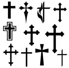 Religious and Christian Shapes Set for Photoshop and Elements: Christian Cross Shapes Más Christian Cross Images, Christian Symbols, Christian Crosses, Small Cross Tattoos, Celtic Cross Tattoos, Cross Tattoo On Wrist, Simple Cross Tattoo, Body Art Tattoos, New Tattoos