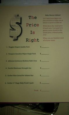 DIY Price is Right baby shower game  #Baby #shower #planning