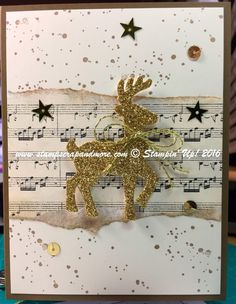 Stampin' Up!, Super simple, quick Christmas Card with a blinged, popped up Reindeer.
